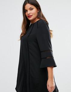 Цельнокройное платье с расклешенными рукавами Truly You - Черный