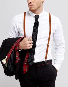 Коричневые подтяжки в винтажном стиле ASOS WEDDING - Коричневый