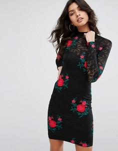 Кружевное облегающее платье с вышивкой River Island - Черный