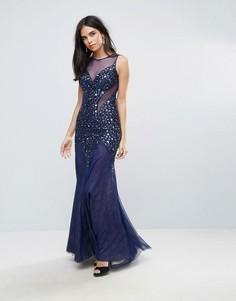 Платье макси с глубоким вырезом и сетчатой отделкой Forever Unique - Синий