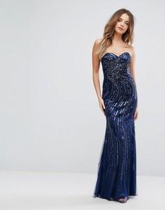 Декорированное платье макси с вырезом в форме сердечка Forever Unique - Синий
