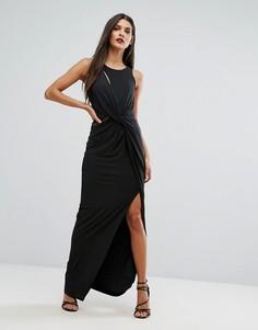 Платье макси с запахом и разрезом Forever Unique - Черный