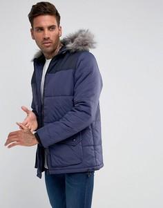 Стеганое пальто с капюшоном Another Influence - Темно-синий