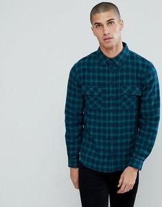 Фланелевая рубашка в клетку с двумя карманами Another Influence - Темно-синий