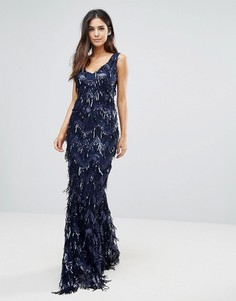 Платье макси с отделкой кисточками и V-образными вырезами City Goddess - Темно-синий
