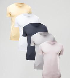 5 обтягивающих футболок с круглым вырезом ASOS - СО СКИДКОЙ - Мульти