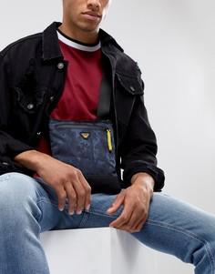 Темно-синяя нейлоновая сумка для авиапутешествий с логотипом Armani Jeans - Темно-синий