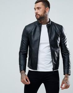 Байкерская куртка из фактурной кожи Armani Jeans - Черный