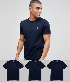 Набор из 3 темно-синих обтягивающих футболок Abercrombie & Fitch, скидка 25 - Темно-синий