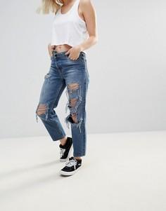 Выбеленные прямые джинсы с асимметричным поясом ASOS RECYCLED FLORENCE - Синий