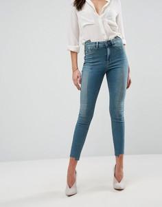 Комбинированные джинсы скинни c завышенной талией ASOS RIDLEY - Синий