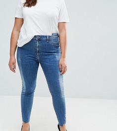 Светлые джинсы скинни c завышенной талией и отделкой спереди ASOS CURVE RIDLEY - Синий