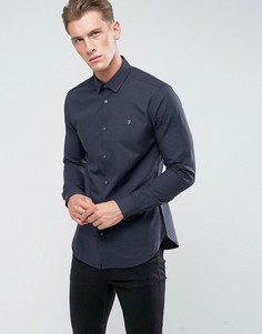 Приталенная рубашка с классическим воротником Farah - Темно-синий