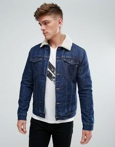 Джинсовая куртка с воротником из искусственного меха Solid - Синий