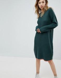 Вязаное платье с контрастным воротником Noisy May - Зеленый