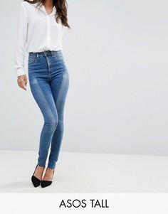 Светлые джинсы скинни c завышенной талией и отделкой спереди ASOS TALL RIDLEY - Синий