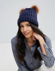 Вязаная шапка-бини с двумя помпонами Boardmans - Темно-синий