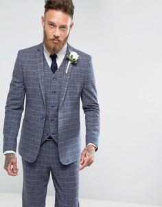 Синий пиджак зауженного кроя в решетчатую клетку ASOS Wedding - Синий