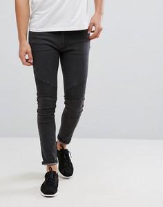 Выбеленные серые байкерские джинсы D-Struct - Черный
