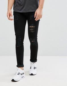 Рваные джинсы D-Struct - Черный