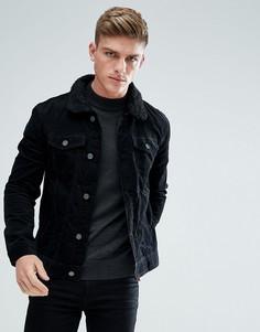 Вельветовая куртка с воротником из искусственного меха Brave Soul - Черный