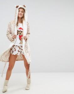 Новогодний халат с отделкой в виде оленя ASOS - Мульти