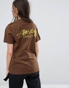 Оверсайз-футболка с принтом Stussy - Коричневый
