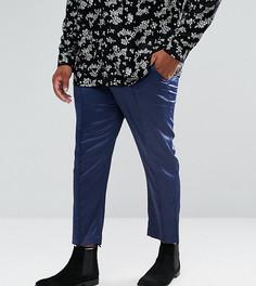 Темно-синие укороченные брюки скинни из сатина ASOS PLUS - Темно-синий