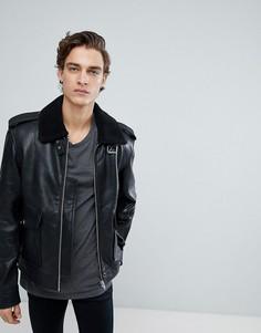 Кожаная куртка с воротником из искусственного меха Black Dust - Черный
