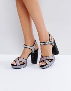 Блестящие сандалии на платформе London Rebel - Мульти