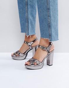 Блестящие сандалии на платформе London Rebel - Серый