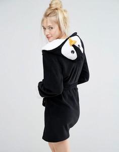 Черный халат Пингвин с 3D-отделкой Loungeable - Черный