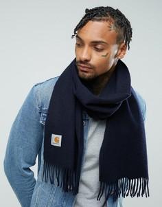Шерстяной шарф Carhartt WIP - Темно-синий