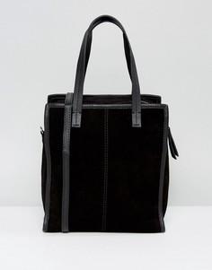 Замшевая сумка-шоппер со съемным ремешком ASOS - Черный