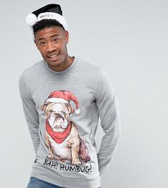 Рождественский свитшот с принтом собаки Threadbare TALL - Серый