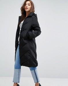 Дутое пальто с капюшоном Boohoo - Черный