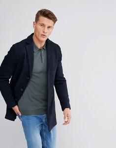 Фактурное пальто букле Stanley Adams - Темно-синий