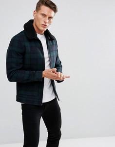 Шерстяная куртка в клетку с воротником из искусственного меха Stanley Adams - Темно-синий