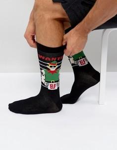 Новогодние носки с эльфами Urban Eccentric - Черный