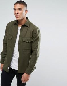 Фланелевая рубашка навыпуск с карманами Bellfield - Зеленый