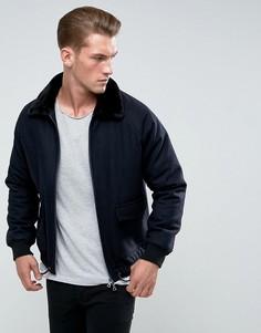 Шерстяная куртка с воротником из искусственного меха Bellfield - Темно-синий