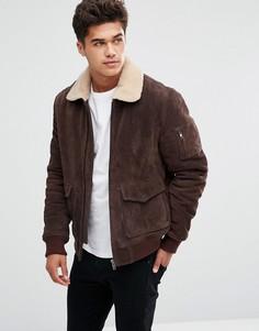 Замшевая куртка с воротником борг Bellfield - Коричневый