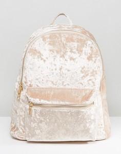 Рюкзак из мятого бархата Yoki - Бежевый