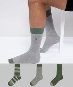 Набор из 3 пар носков в серо-зеленой гамме Jack Wills Alandale - Зеленый