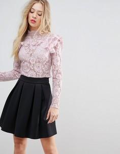Кружевной кроп-топ ASOS Premium - Розовый