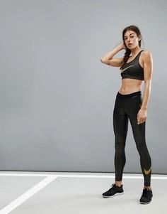 Леггинсы с золотистой отделкой Nike Pro Training - Золотой