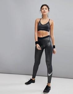 Серебристые леггинсы Nike Pro Training - Серебряный