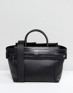 Черная сумка-тоут из искусственной крокодиловой кожи с молнией Fiorelli Abbey - Черный