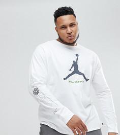 Белый лонгслив с принтом на рукавах Nike Jordan PLUS AA3272-100 - Белый