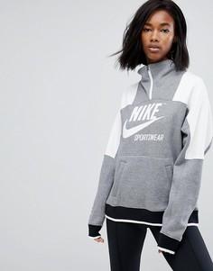 Серый свитшот с молнией Nike Archive - Серый